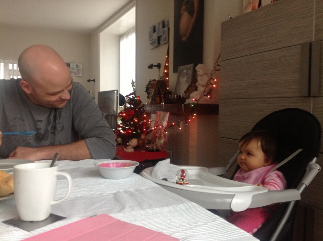 Papa and baby enjoying breakfast together!