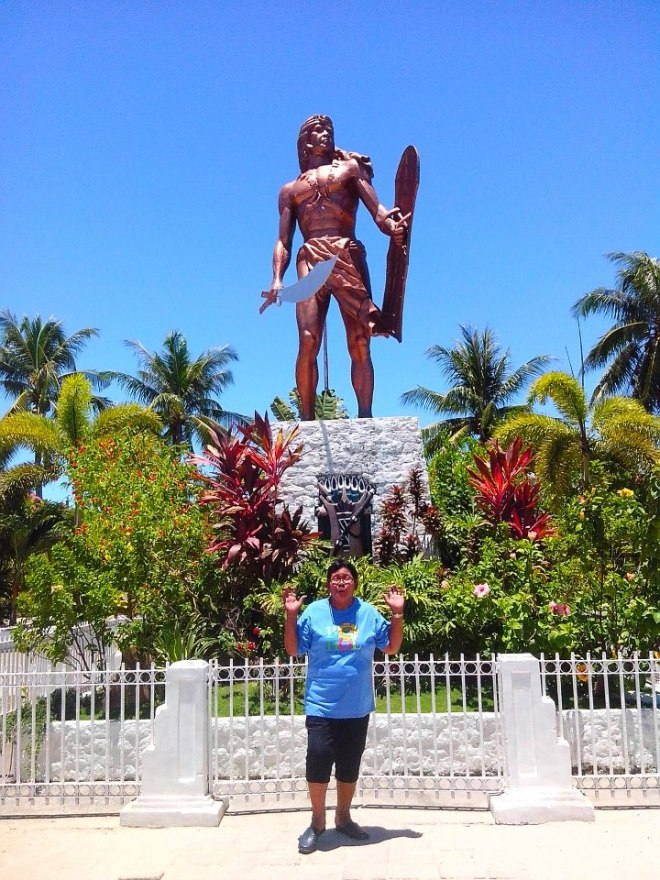 Lola Cion with the Statue of Lapu-Lapu in Mactan, Cebu