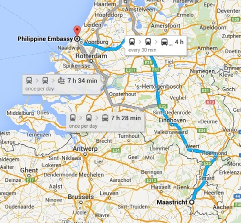 Google Maps - Maastricht to The Hague